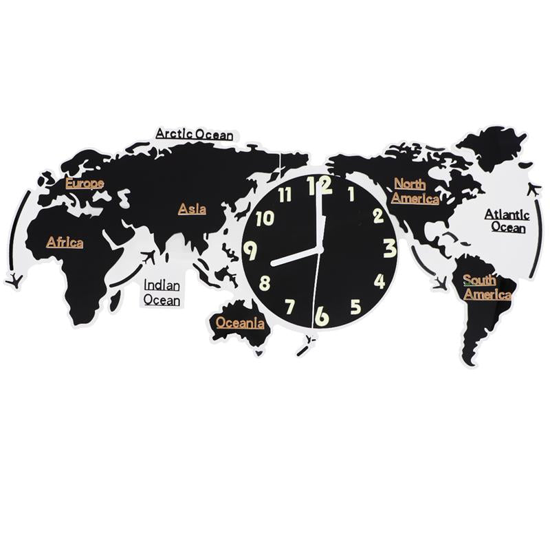 World Art Map Minimalist Luminous Mute Wall Clock