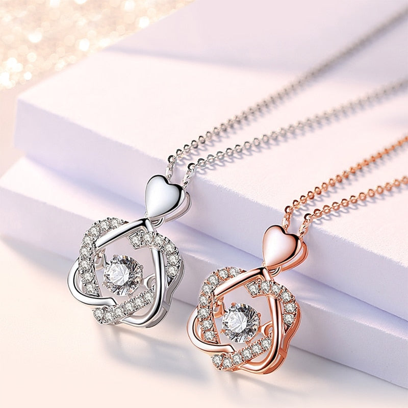 The Force Gold Silver Heart 2021 Love Knot ShieldMadien Valentino Set With Rose Topaz Pendant Necklace For Women