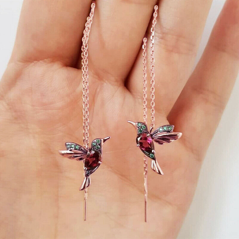 Ladies Elegant Hummingbird Rhinestone Stud Earrings