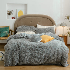 Fluffy Blanket With Pillow Cover 3 Pieces Set - Noir Set