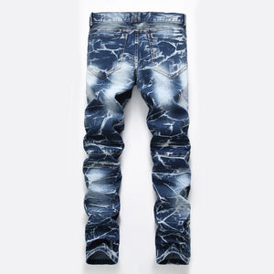 Fashion Retro Motorcycle Jeans Straight Personality Trousers