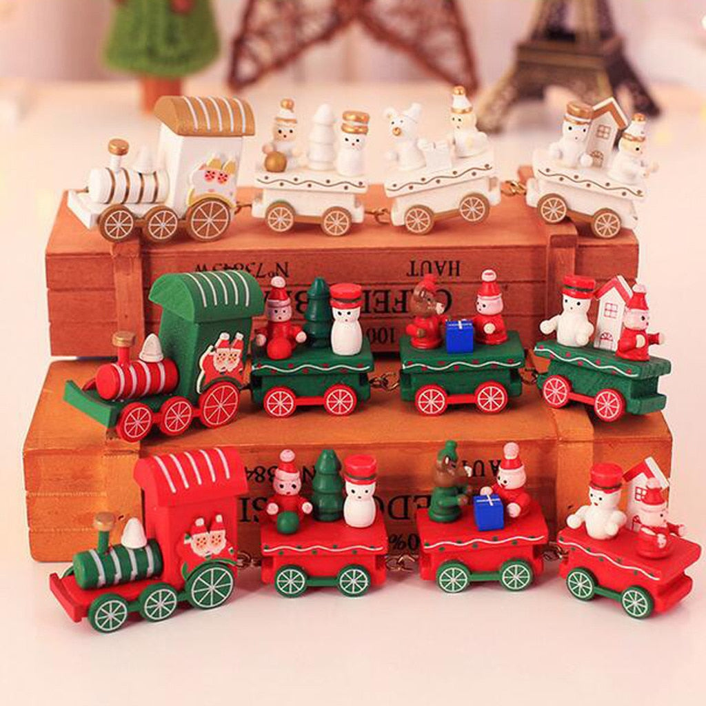 Wood Christmas Decorations Christmas  Small Train Children Kindergarten Festive Christmas Ornaments Kids Gifts