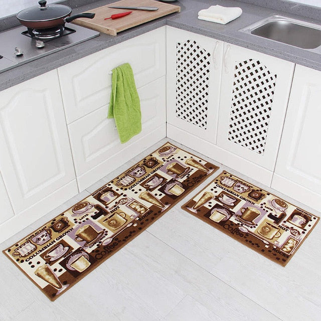 2Pcs Kitchen Printed Non-Slip Carpet