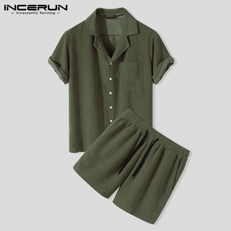 Men's Slim Corduroy Solid Patch Pockets Breathable Short Sleeve Shirt and Shorts