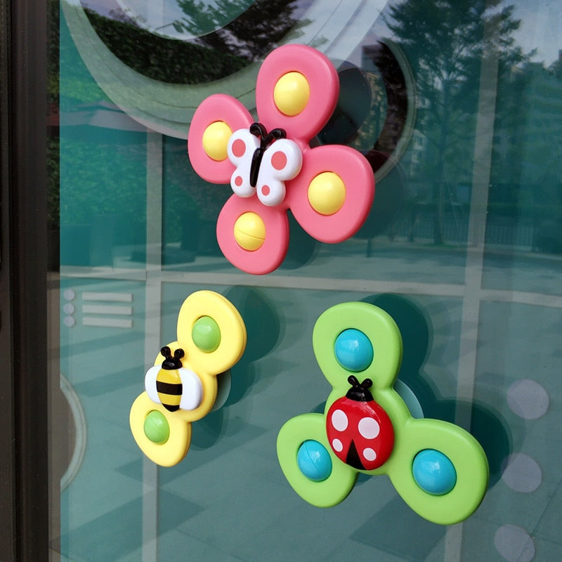 3Pcs/Set Cute Cartoon Suction Cup Spinner Toy