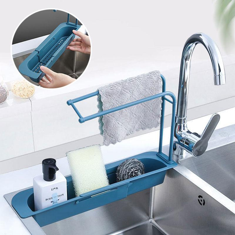 Telescopic Sink Storage Rack Kitchenware