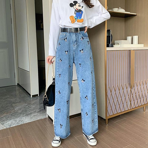 Micky Mouse Embroidered High Waisted Jeans