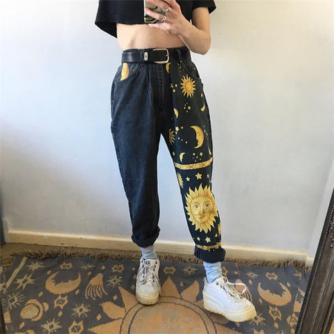 Sun Moon Stars High Waisted Jeans