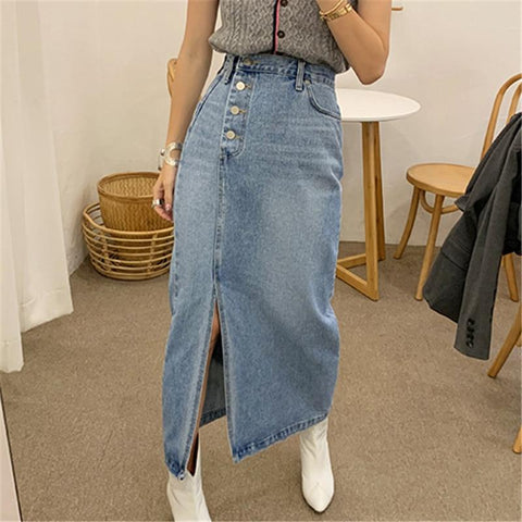 High Waisted Vintage  Split Denim Midi Skirt