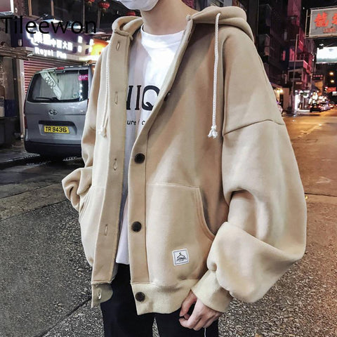 Drop Shoulder Button Up Hoodie