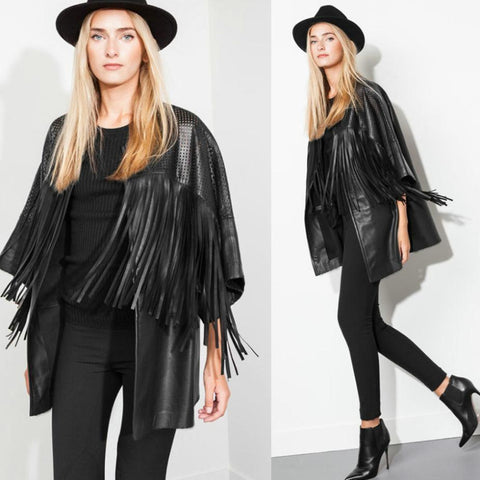 Slim Tassel Leather Jacket