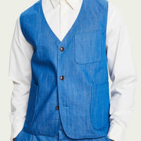 gilet ss 2 cotton denim, aqua blue