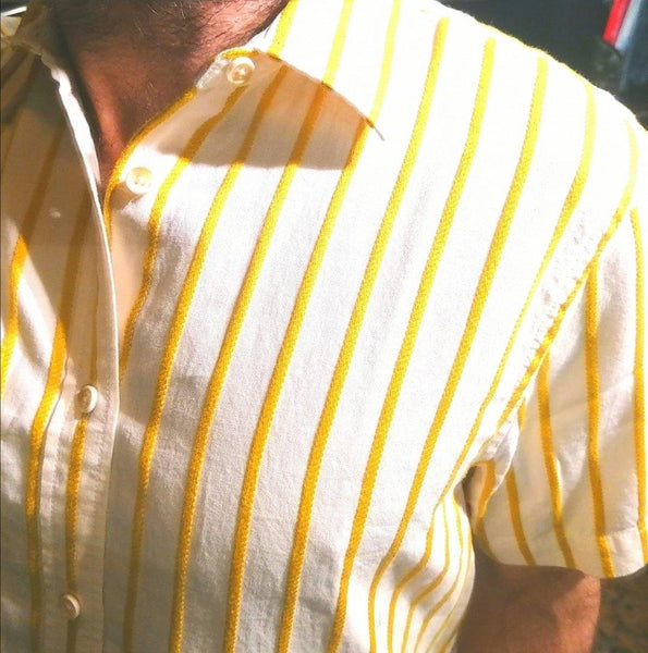 textured short sleeve shirt ss 7. white, yellow. cotton.