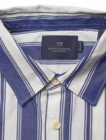 "Striped cotton long sleeve shirt   ss 8. blue striped. cotton. ""the name of this shirt is too obvious."""