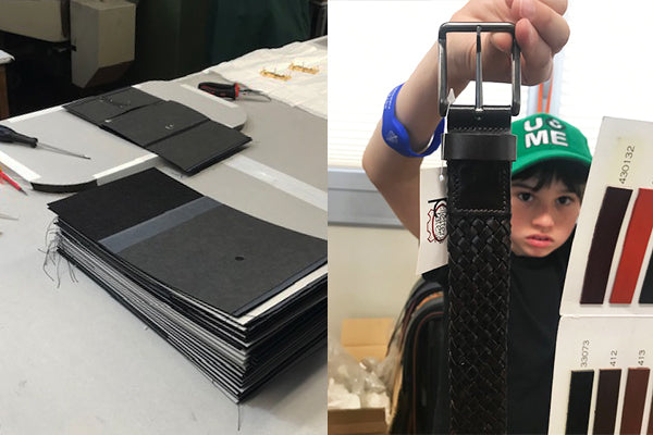 Picture of Jack considering leather samples for Nesso's goods - ensuring we have the highest quality leather at the best prices