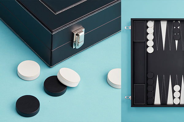 Picture of the backgammon board, close up to show craftsmanship and high quality of leather