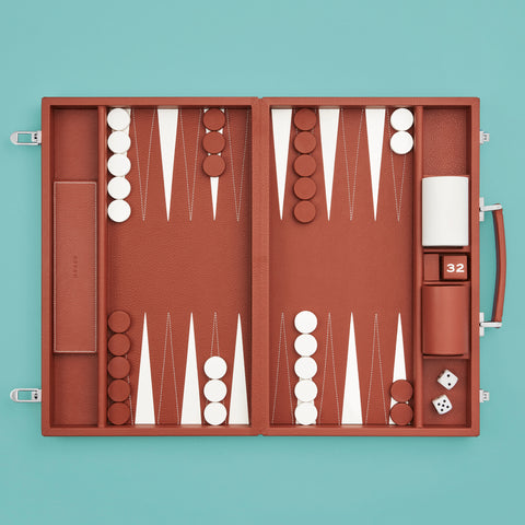 Brown leather luxury backgammon set, shown set up and ready to play a game