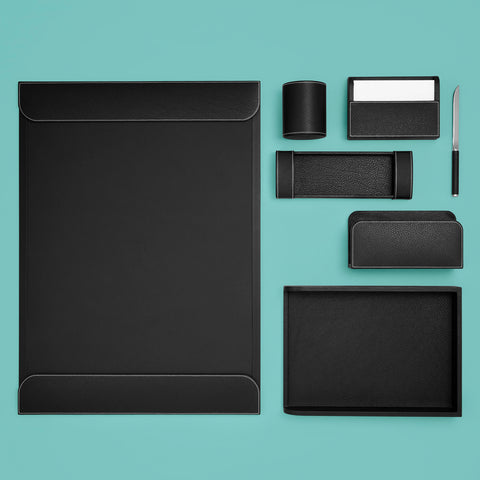 Luxury black leather desk set, shown with all components including pen cup