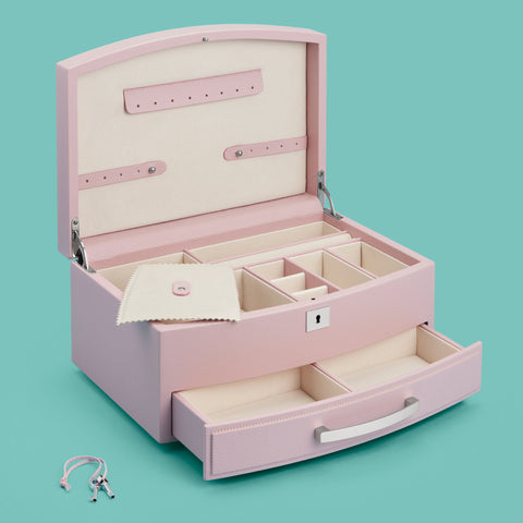 Pale pink leather and suede jewelry box, shown opened with drawer pulled out and lock and key