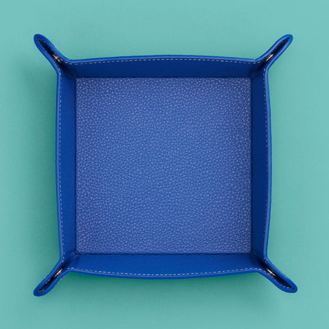 Royal blue leather valet catchall tray