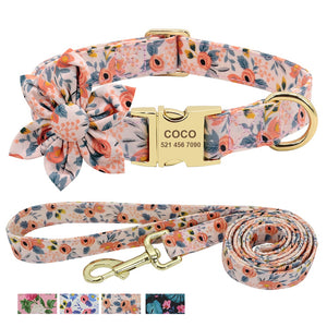 Custom Engraved Dog Collar With Leash Nylon Printed Dog ID Collars Pet Walking Belt
