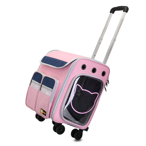 Pet Wheel Carrier Dog Cat Travel Transport Bag Rolling Luggage Backpack Travel Tote Trolley Bags for Dogs Stroller Drop Ship