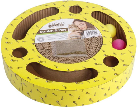 PAWISE Cat Scratcher Cardboard Reversible Kitty Scratching Pad Lounge Interactive Toy|Cat Toys|