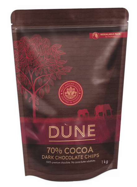 DÙNE 70% COCOA DARK CHOCOLATE CHIPS, 1kg