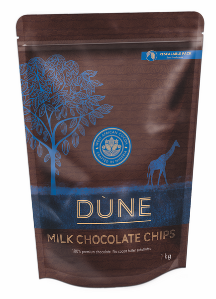 DÙNE MILK CHOCOLATE CHIPS, 1-kg