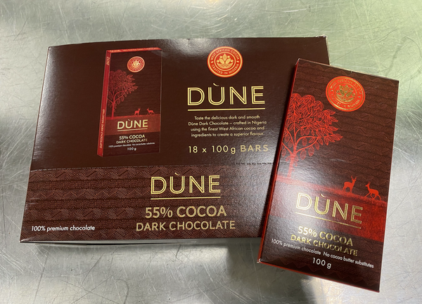 DÙNE 55% COCOA DARK CHOCOLATE, (100g x 18)