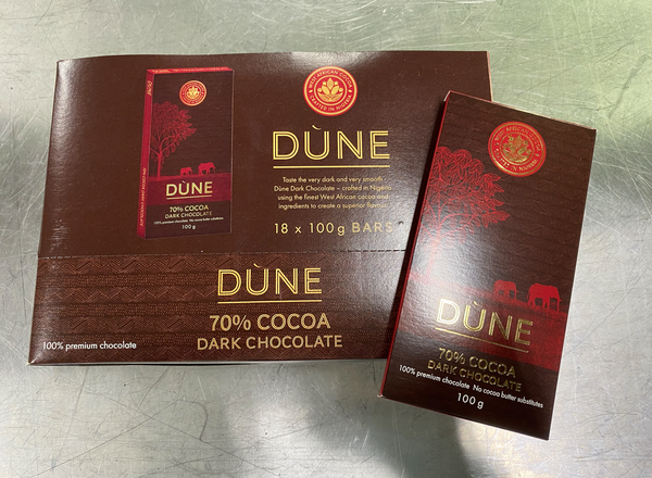 DÙNE 70% COCOA DARK CHOCOLATE, (100g x 18)
