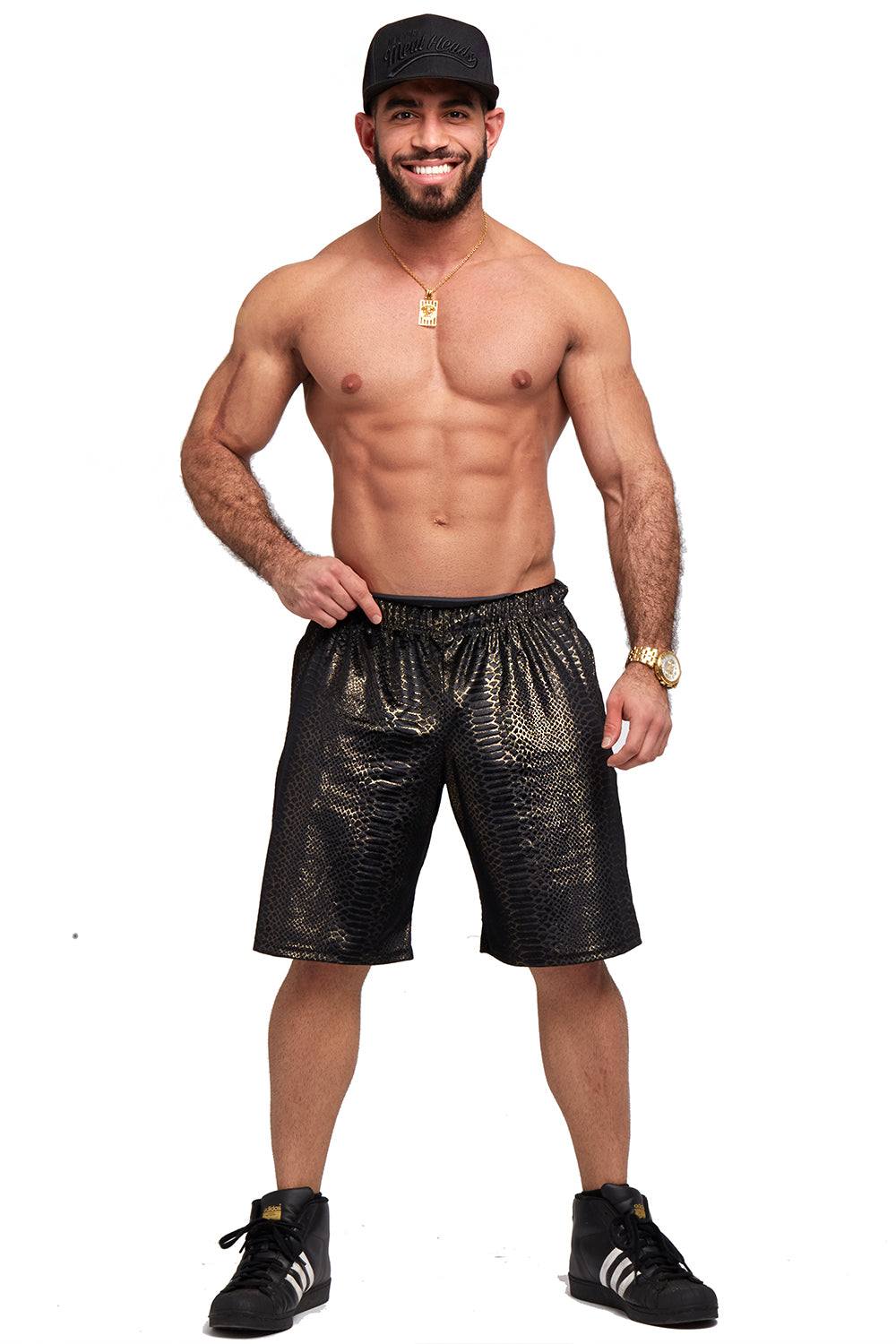 Black and Gold Python Zip Pocket Shorts