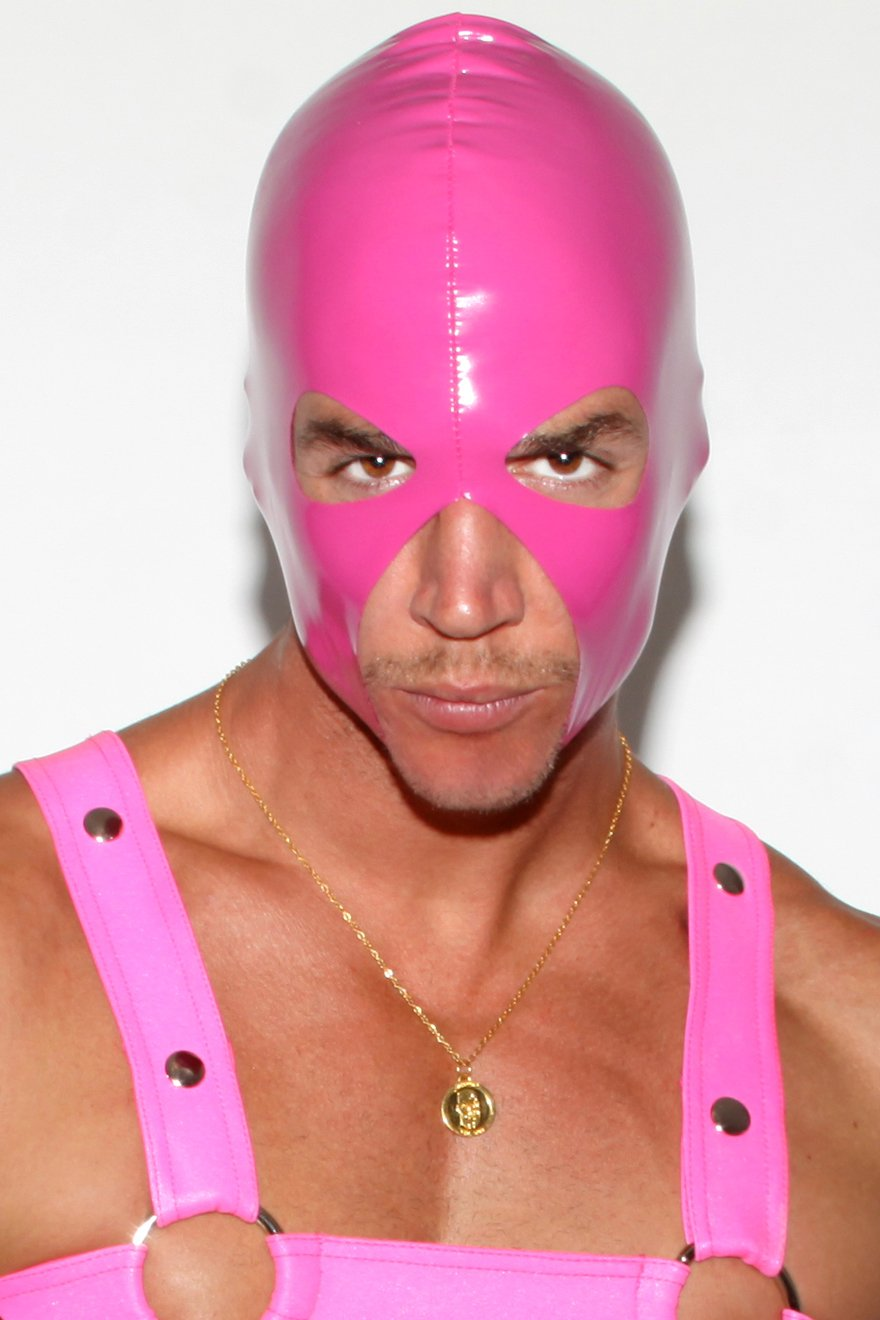 Pink Latex Look Sexecutioner Hood - Slick It Up