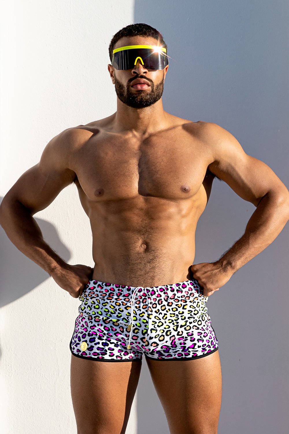Neon Rainbow Leopard Zip Pocket Swimshorts