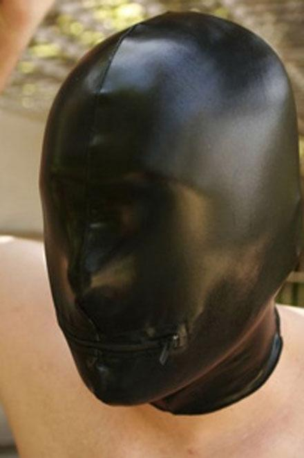 LEATHER LOOK ZIPPER WITHOUT EYES HOOD - Slick It Up
