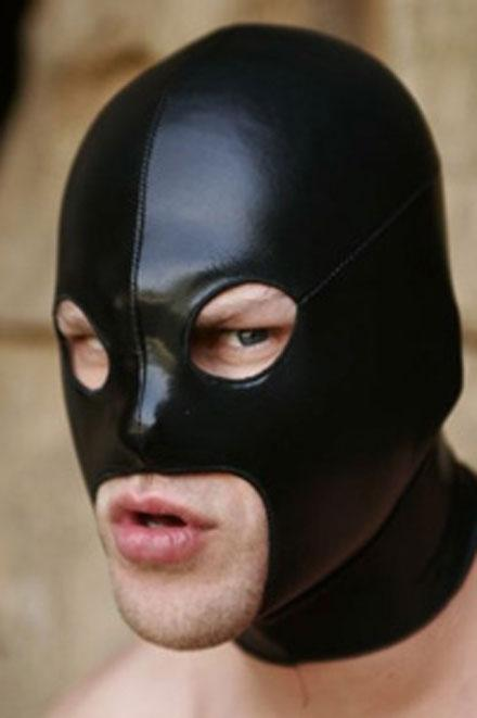 LEATHER LOOK EYES AND LARGE MOUTH HOOD - Slick It Up