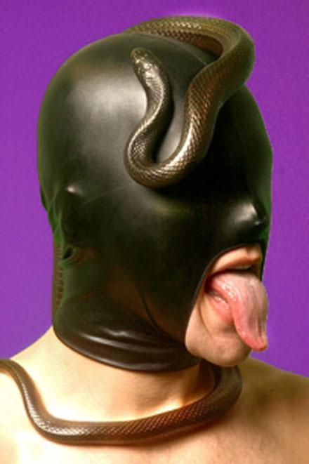 LEATHER LOOK LARGE MOUTH ONLY HOOD - Slick It Up