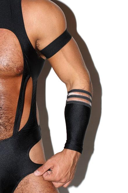 Two Stripe Gauntlet and Armband Set (Black) - Slick It Up