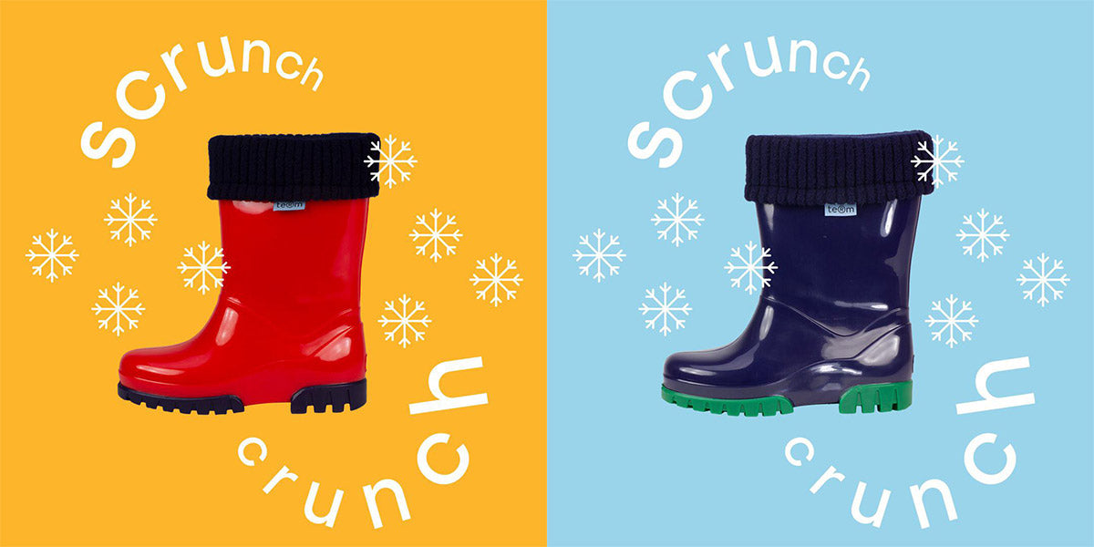 Red and blue term wellies with snow back saying srunch crunch