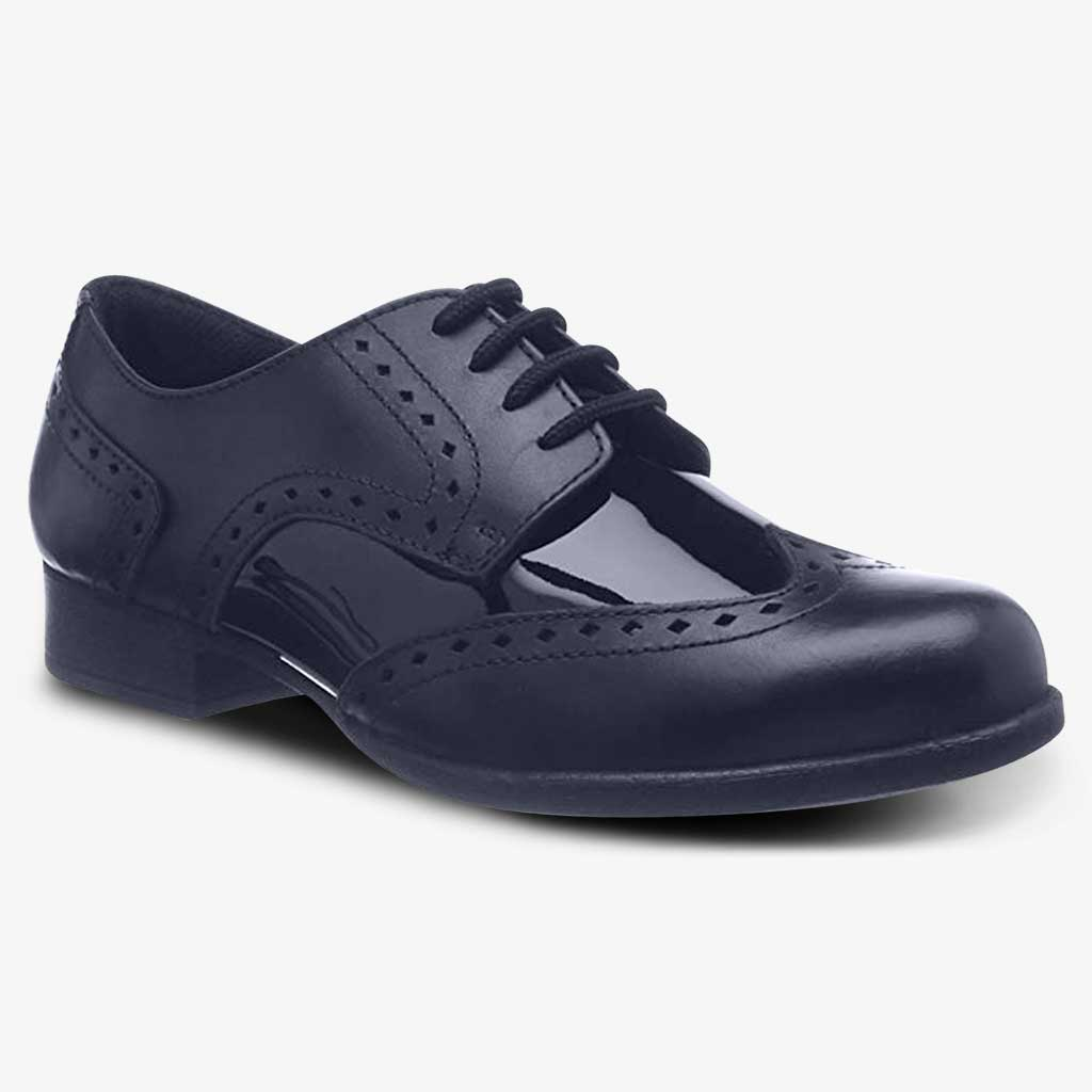 MEGHAN PATENT SENIOR GIRLS LACE BROGUE WIDE FIT - Girls School Shoes