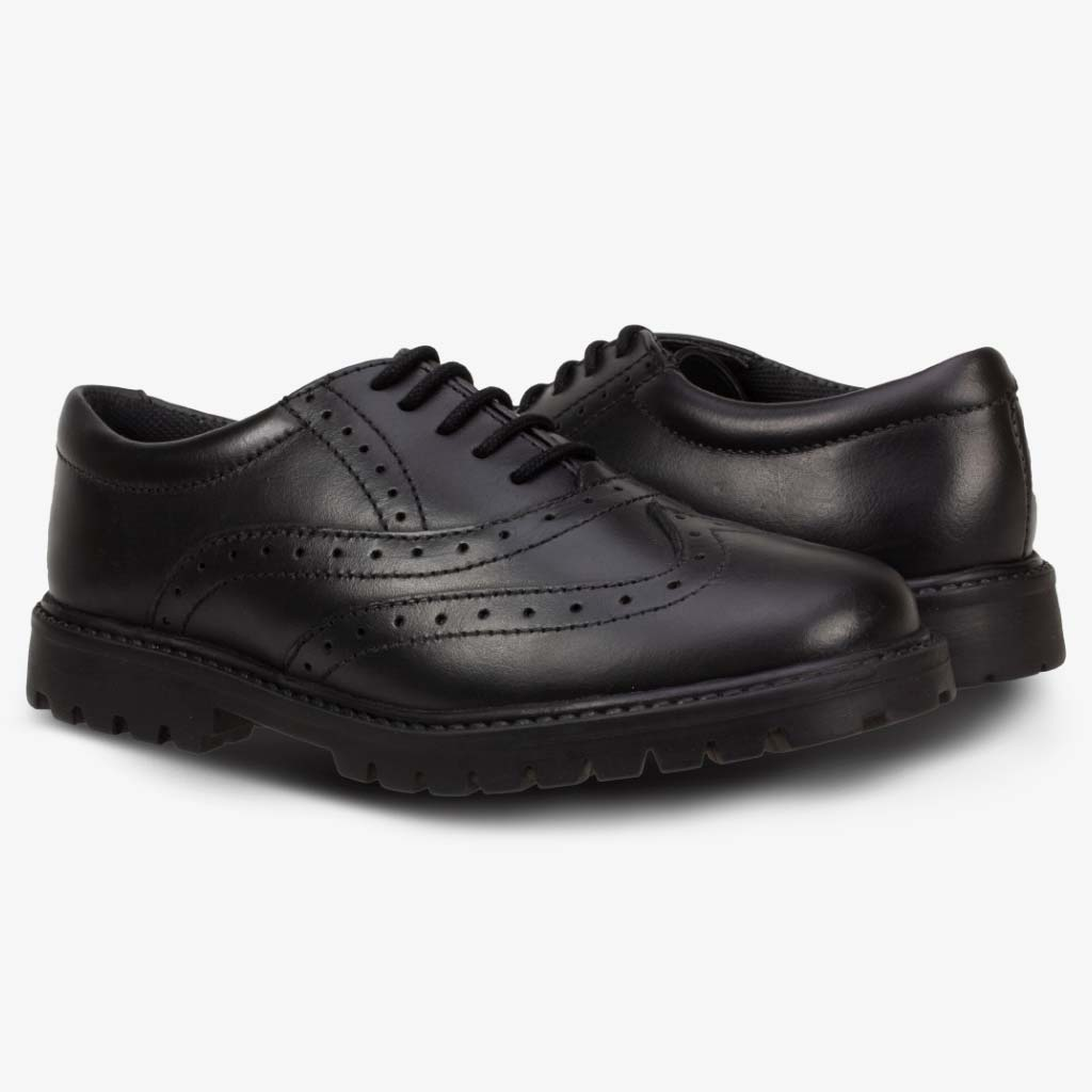 SOPHIA LEATHER GIRLS BROGUE WITH CHUNKY SOLE - Term Footwear