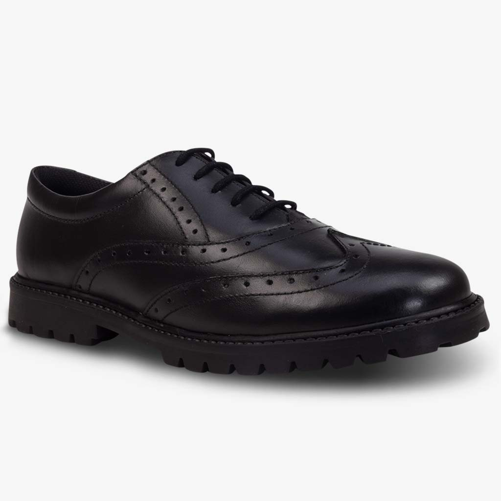 SOPHIA LEATHER GIRLS BROGUE WITH CHUNKY SOLE - Girls School Shoes