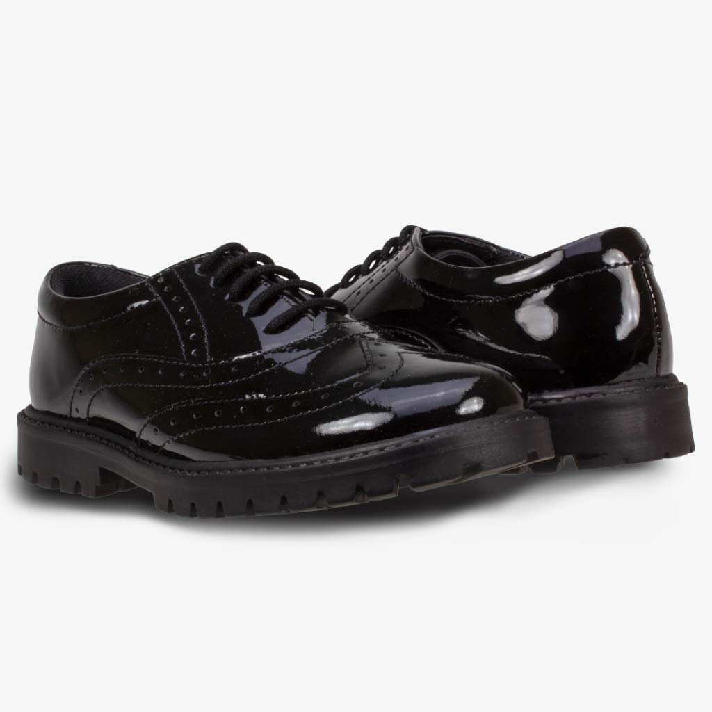 SOPHIA PATENT GIRLS BROGUE WITH CHUNKY SOLE - Girls School Shoes