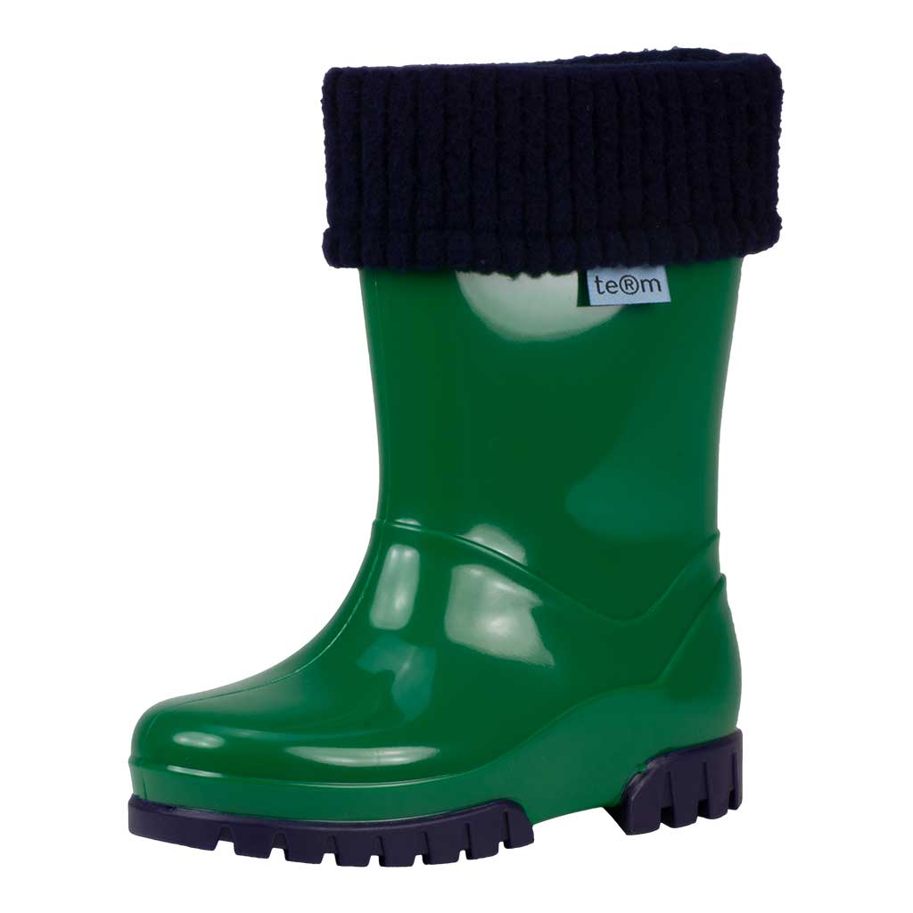 GREEN SHINY WELLIES WITH SOCKS - Term Footwear