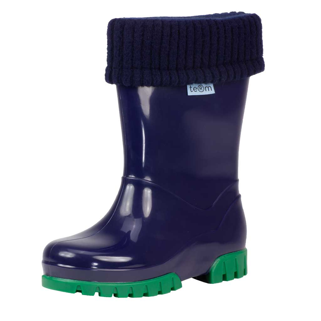 NAVY SHINY WELLIES WITH SOCKS - Term Footwear