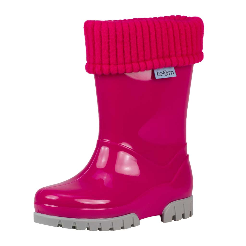 PINK SHINY WELLIES WITH SOCKS - Term Footwear