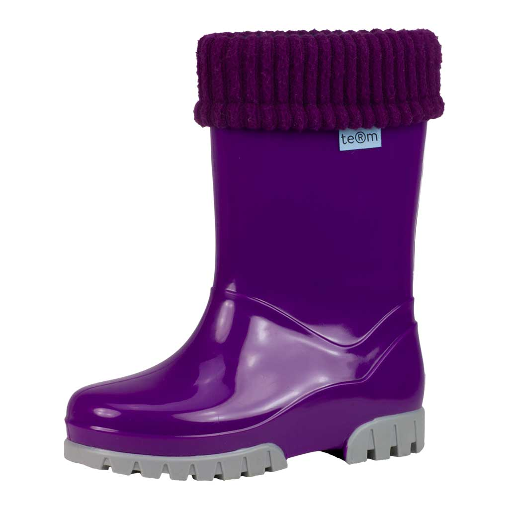 PURPLE SHINY WELLIES WITH SOCKS - Term Footwear