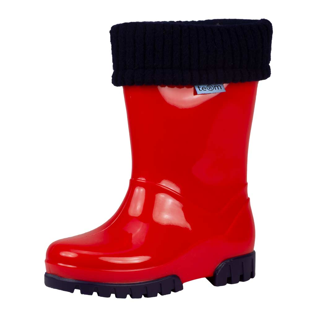 Red Shiny wellies with sock - Wellies