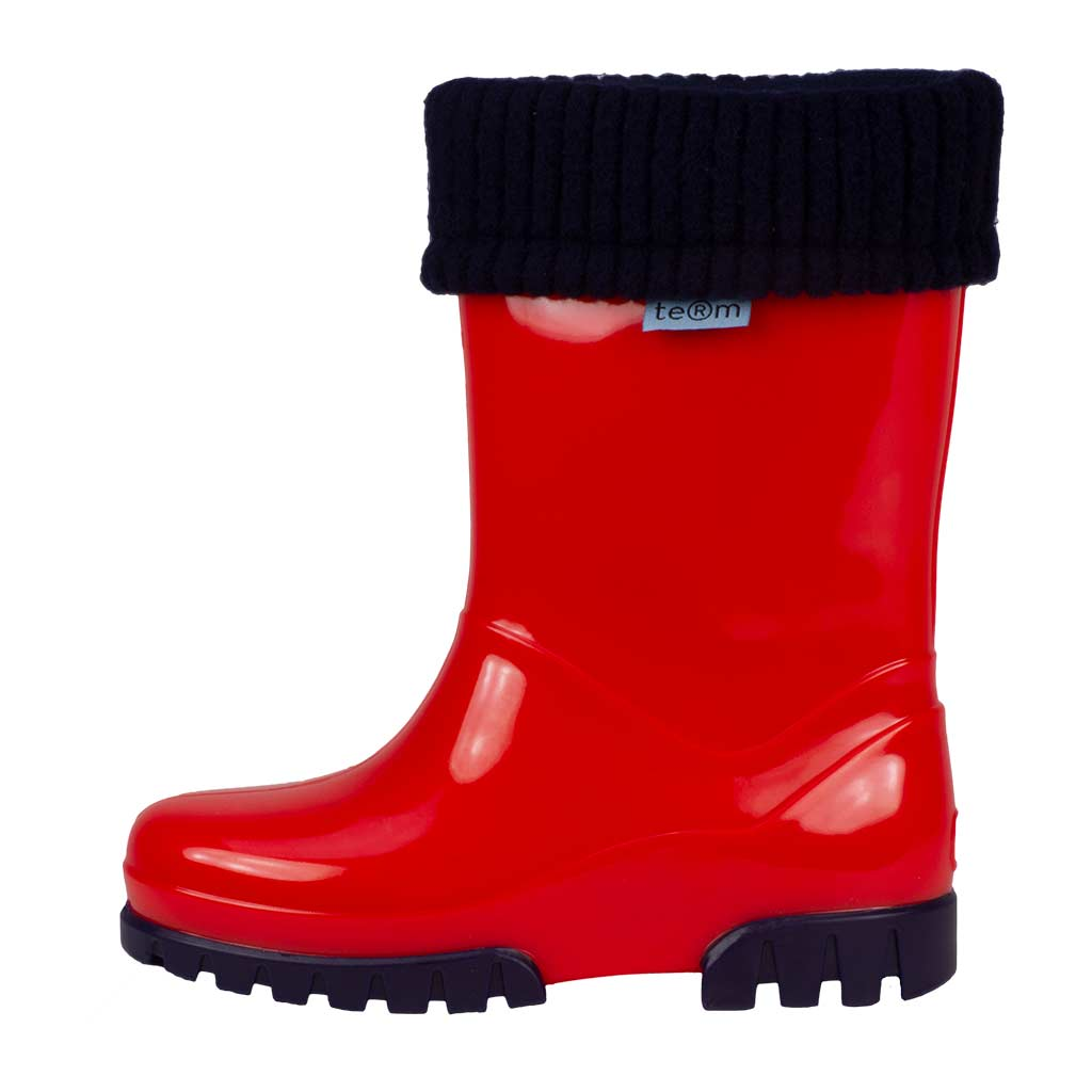 RED SHINY WELLIES WITH SOCKS - Term Footwear