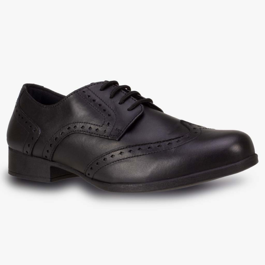 MEGHAN LEATHER SENIOR GIRLS LACE BROGUE WIDE FIT - Term Footwear